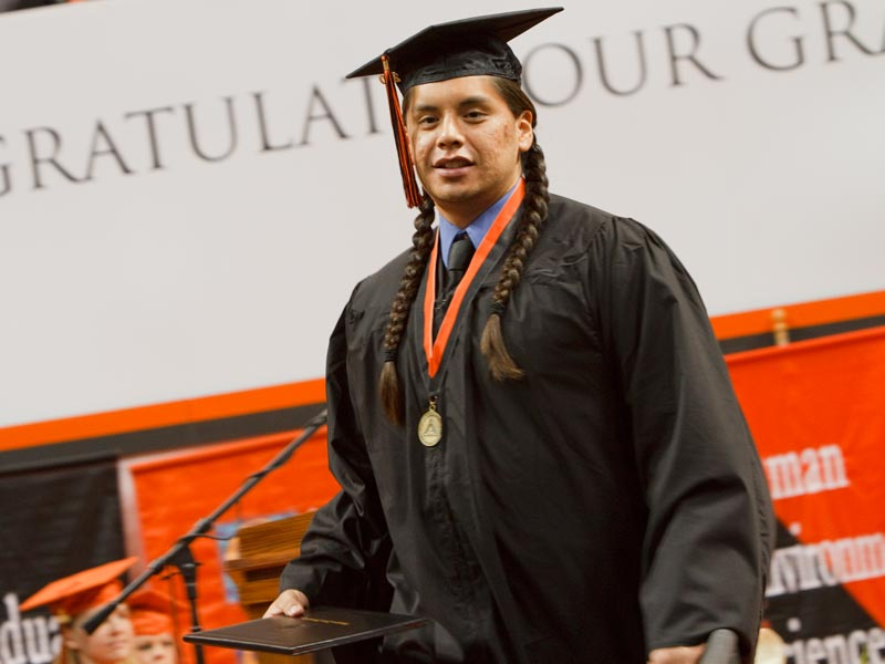 Native American student at OSU commencement